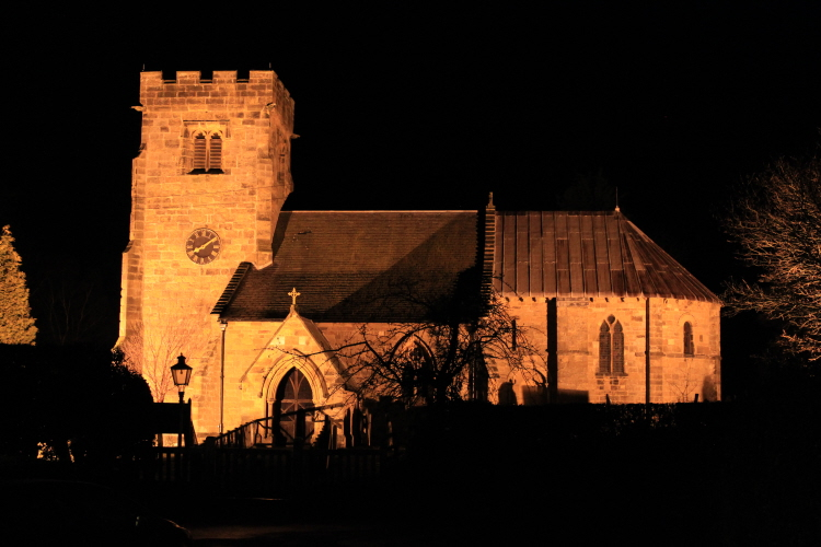 High pressure sodium lighting illuminating beautiful elevations St Felix Church